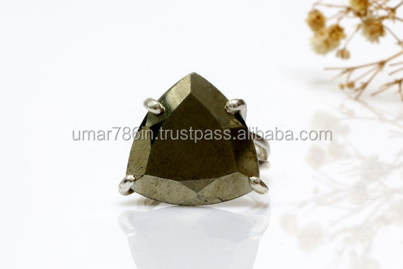 Pyrite silver trillion ring