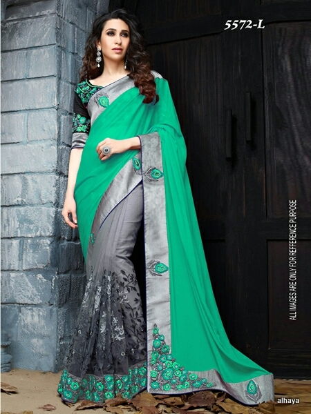 Designer Velvet Blouse and Red and Black color Womaniya Designer Sarees Collections