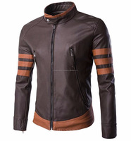 Factory Wholesale Men Slim Fit Stand Collar Real Leather jacket