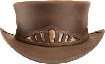New Steampunk Marlow - Metallic Band Genuine Leather Top Hat ... 7f29cce0876d