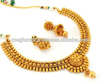 0bc2c806d4 South indian one gram gold plated necklace set - Wholesale traditional  jewellery - Bollywood imitation jewelry