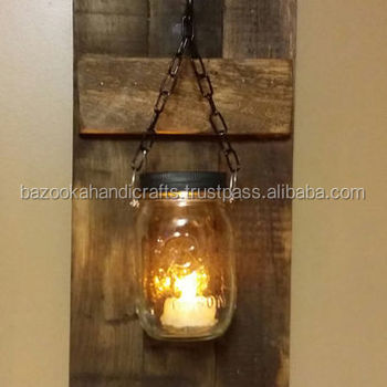 Mason Jar Wall Sconce Decorative Candle Outdoor Wooden Stand Sconces Product On