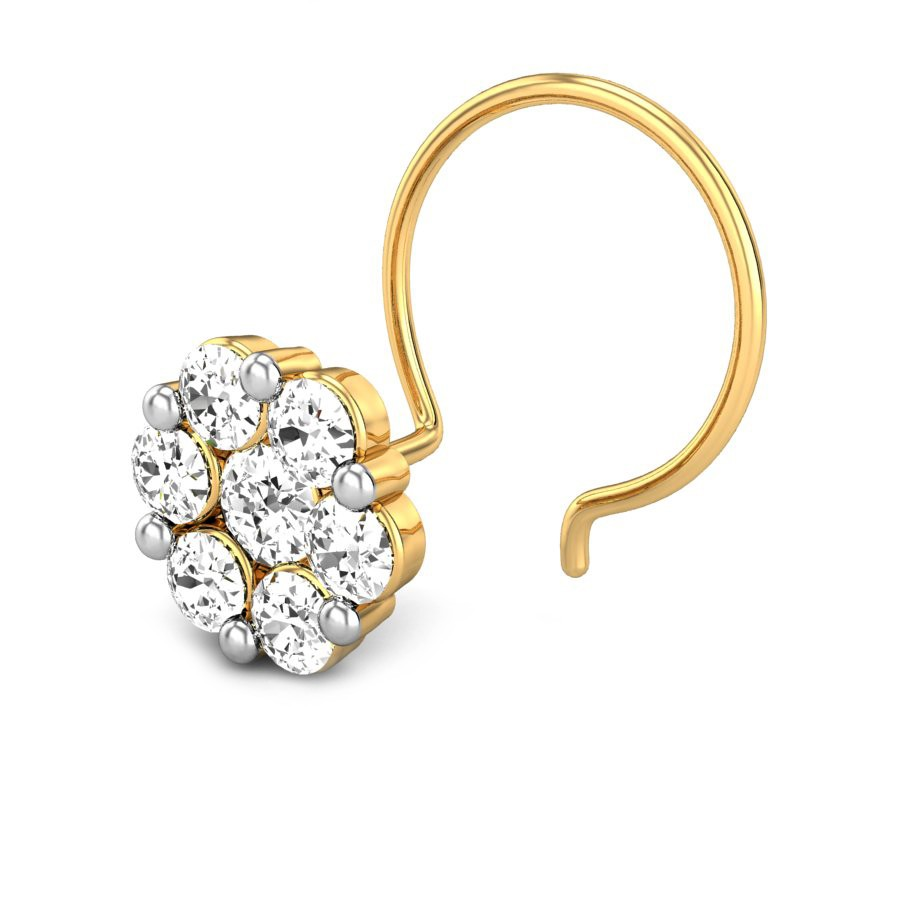 Seven Stone Real Diamond Nose Stud In 14k Yellow Gold Buy
