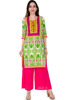 Designed in floral & Triple print on yoke 100% cotton knee length lady kurti