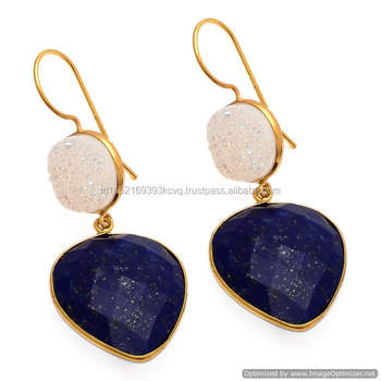 The Gopali Jewellers Genuine Lapis Earrings 14k Gold Filled Earwires Nautical Navy Blue Dangle