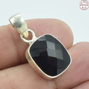 Rising facet black onyx gemstone 925 sterling silver pendant bezel setting gemstone jewelry wholesale silver jewelry
