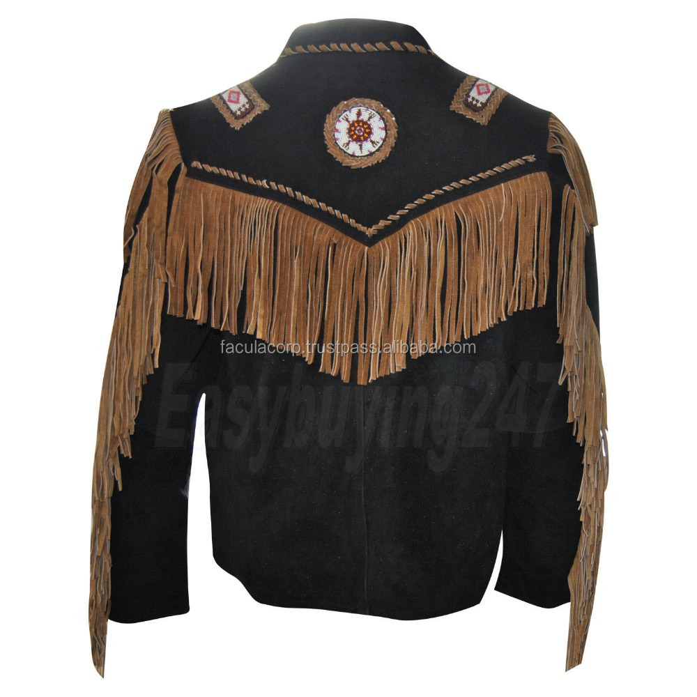 2016 Mens Black Western Beaded Long Fringed Leather Jacket With Long Fringe Beads XS FC-7710