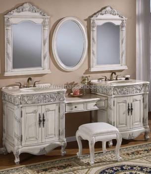 Wastafelmeubel Van Hout.Luxe Moderne Witte Spiegel Ijdelheid Kasten Hand Gesneden Massief