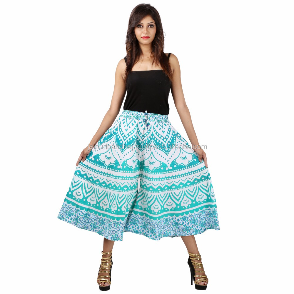Indian Cotton Printed Long Women's Divider Skirt