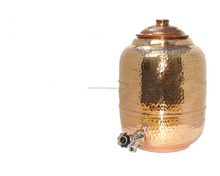 Copper Hammered water Tank with Tap, Water Pot with Tap with -305 Oz