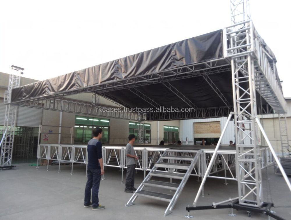 outdoor event show aluminum plywood portable stage with wheels