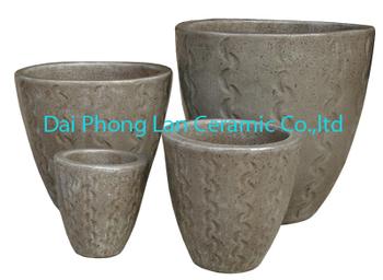 Creative Wholesalers Grey Round Glazed Ceramic Clay Pot