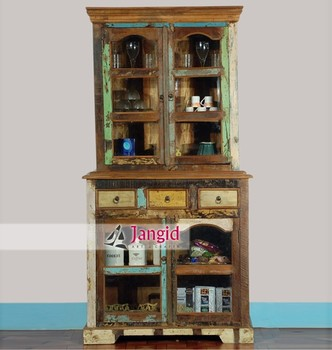 Rustic Reclaimed Wood Hutch Buffet Online India For Living Room