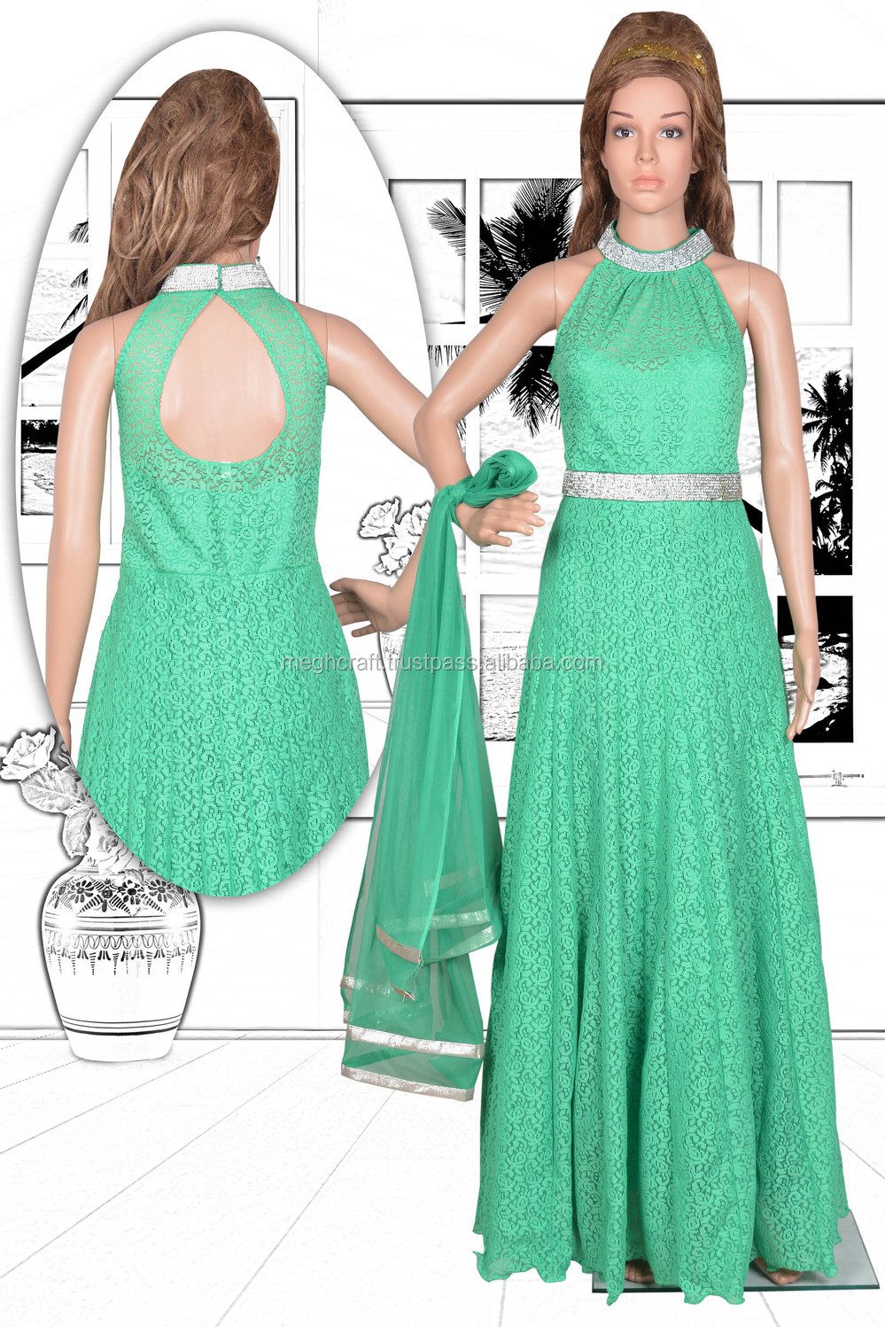 Party Wear Floor Touch Long Gown-wholesale Chiffon And Net Gown ...