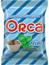 Orca Mint Flavored Hard Candy with Chocolate Filling in Pillow Pack