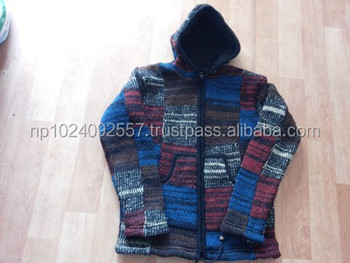 Yak Wool Knitted Jackets Hoodie Nepal 1005 Wool Patched New Arrival