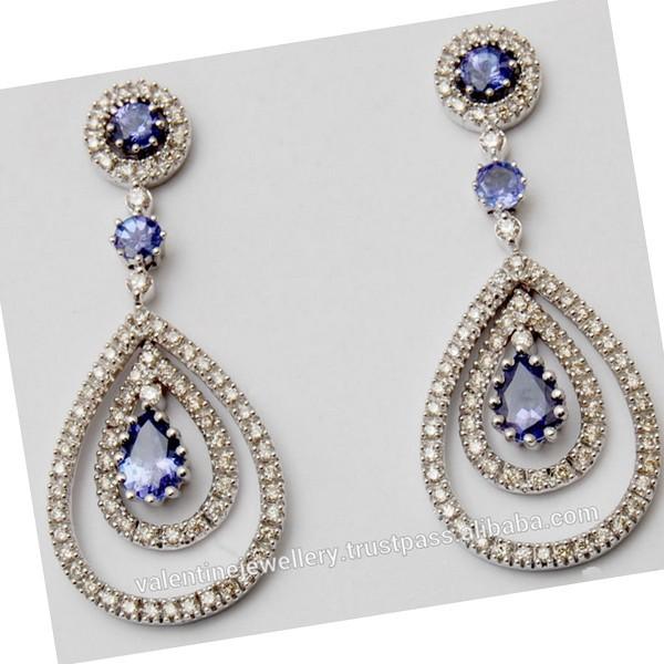 Classy Tanzanite Diamond Chandelier Earring Wholesale - Buy ...