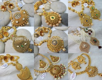 011801907 Indian kundan polki jewellery - Antique indian bridal jewellery - indian  jewellery wholesale - Heavy Gold