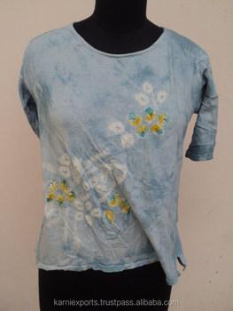 da1d004ab Indian Most Popular Design Tie Dye Printed Women Knitted Wear / Jaipur  Bandhej T-shirts