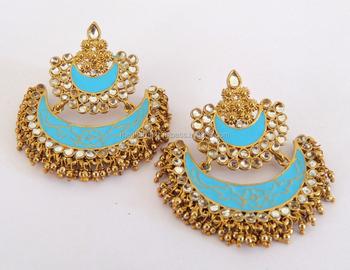 bf3538e78 Indian handmade meenakari Chandelier Earring-Punjabi Chandelier Earring-Pearl  Chandelier Earrings-Kundan Imitation