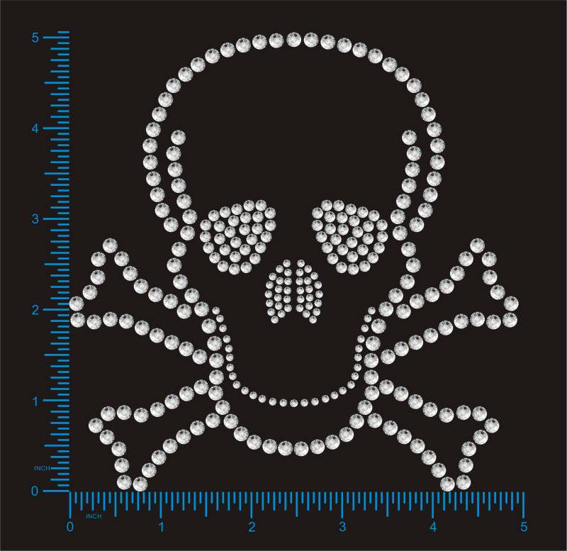 100% Genuine Swarovski elements Skeleton Design Motif Hotfix rhinestones Iron On Gem Crystal Transfer Fashion