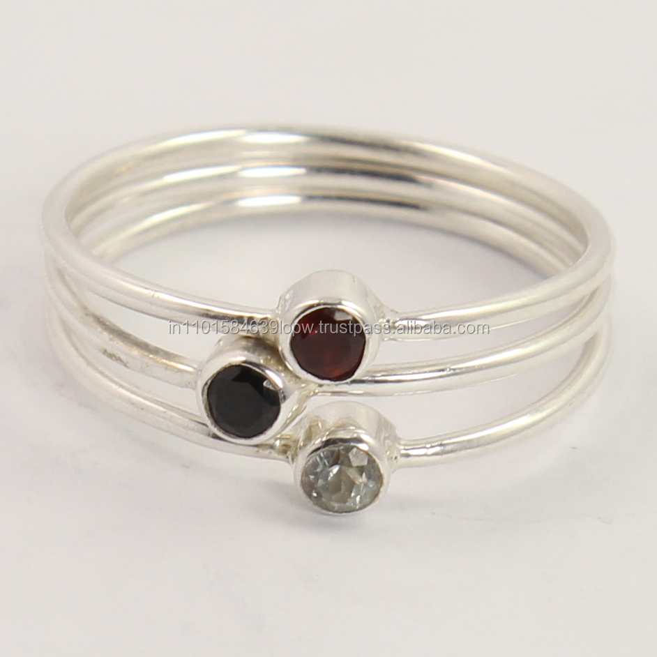 ally express cheap wholesale ring tiny Natural AMETHYST & GARNET Gemstones 925 Sterling Silver Round All Size stack sets