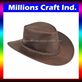 Outback occidental ala ancha sombrero de vaquero de cuero por millones arte  IND 476c71ffcfb