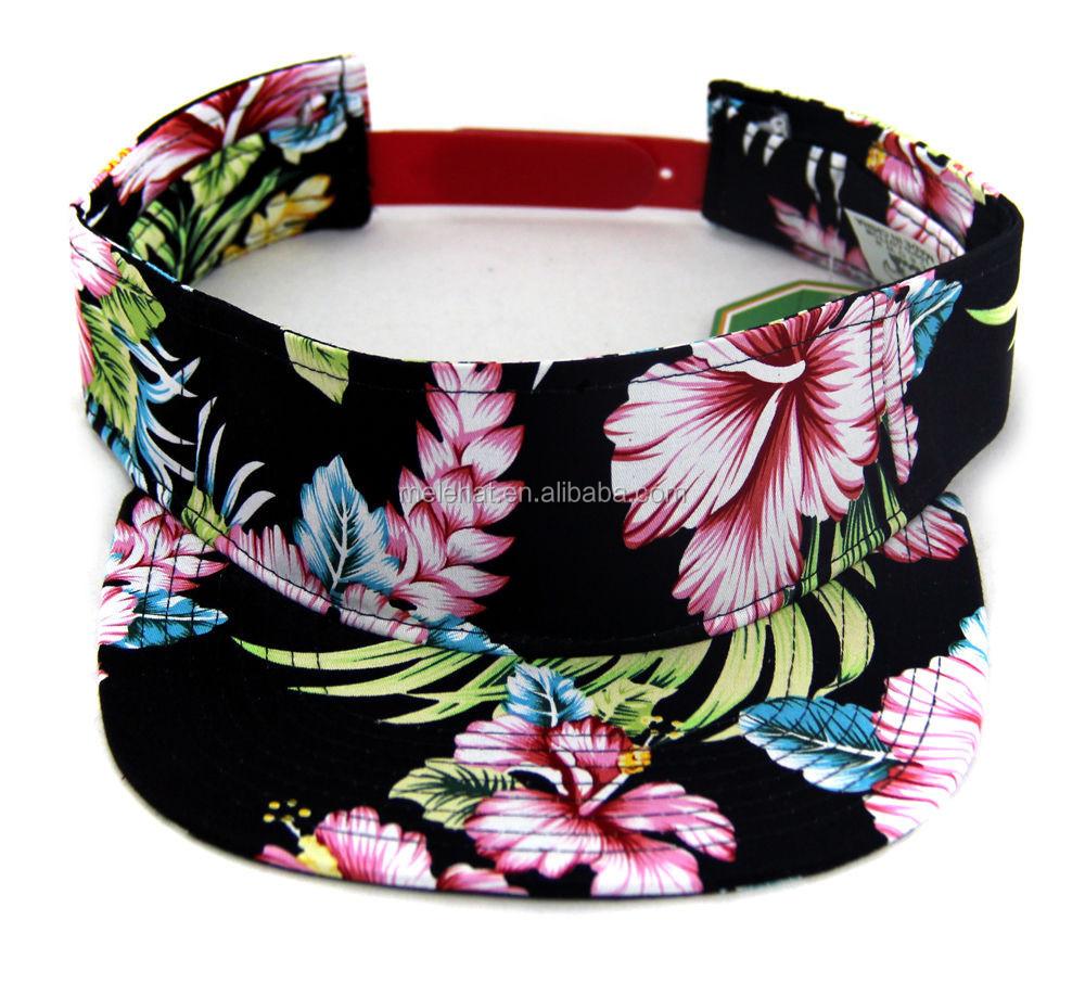 Hawaiian Flower Printed Flat Bill Visor Golf Tennis Hats Caps Outdoor Sun  Visor Cap Hat 3e83b9b9119