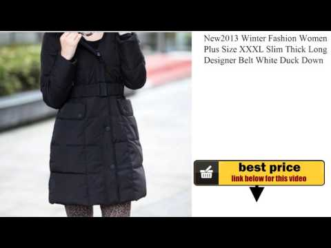 New2013 Winter Fashion Women Plus Size XXXL Slim Thick Long Designer Belt White Duck Down Jacket