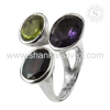 Amethyst Citrine Smoky Quartz Ring 2017 Wholesale 925 Sterling Silver Ring Indian Silver Jewelry Supplier