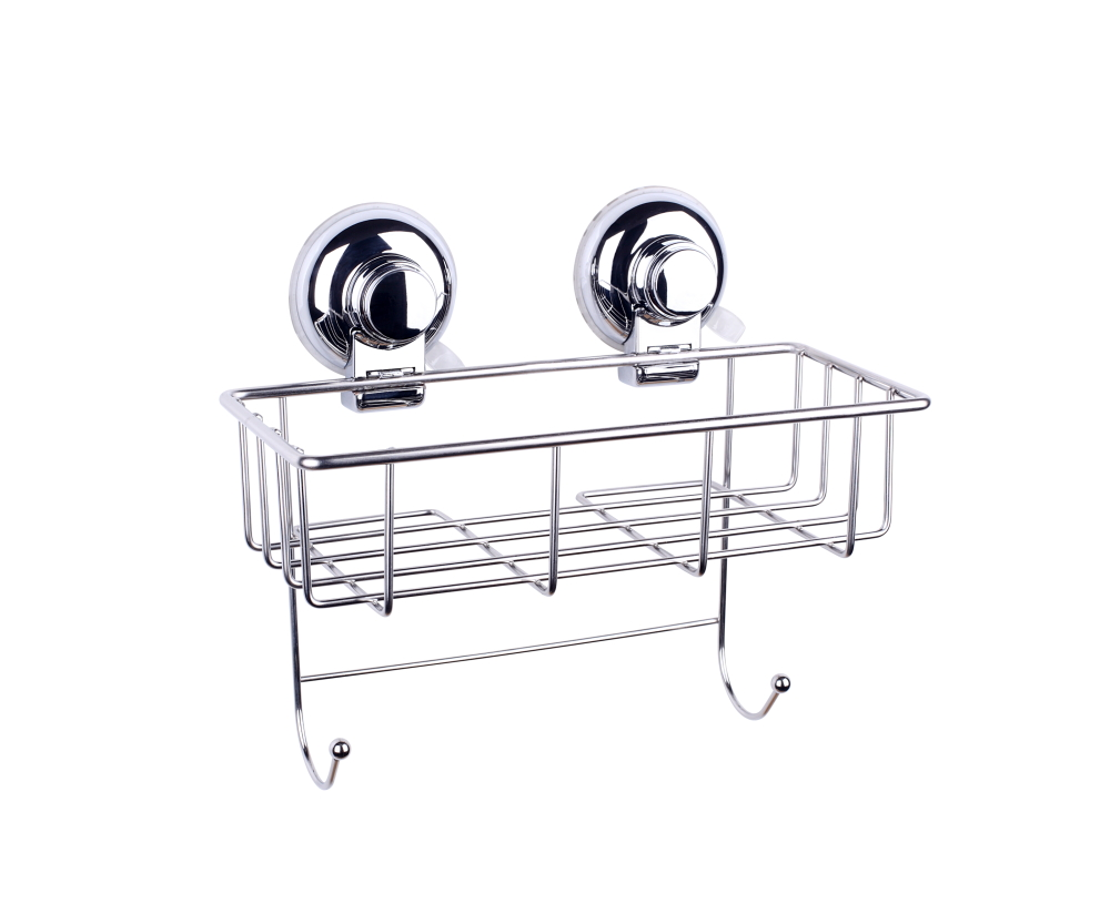 Powerful Vacuum Suction Cup Bath Shower Caddy Stainless Steel Deep Storage Basket and Bath Shelf with Two Hooks
