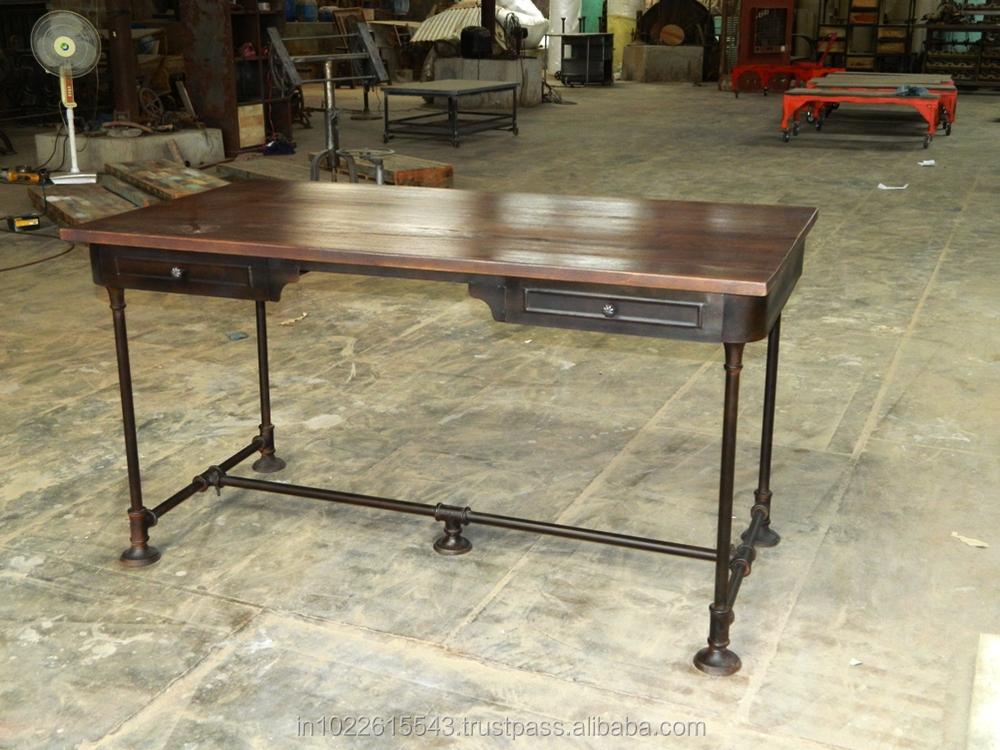 Escritorio de madera de metal industrial vintage de metal for Escritorio industrial vintage