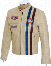 "Steve McQueen Le Men""s Driver Grandprix Gulf Cream Genuine Leather Jacket"