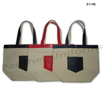 20 Oz Natural Canvas Tote Bag With Genuin Leather Handletop