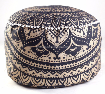 new ombre design indian living room pouf cover black and gold ottomans wholesale pouf covers. Black Bedroom Furniture Sets. Home Design Ideas