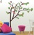 SYGA RED FLOWERS & GREEN LEAVES TREE WALL STICKER