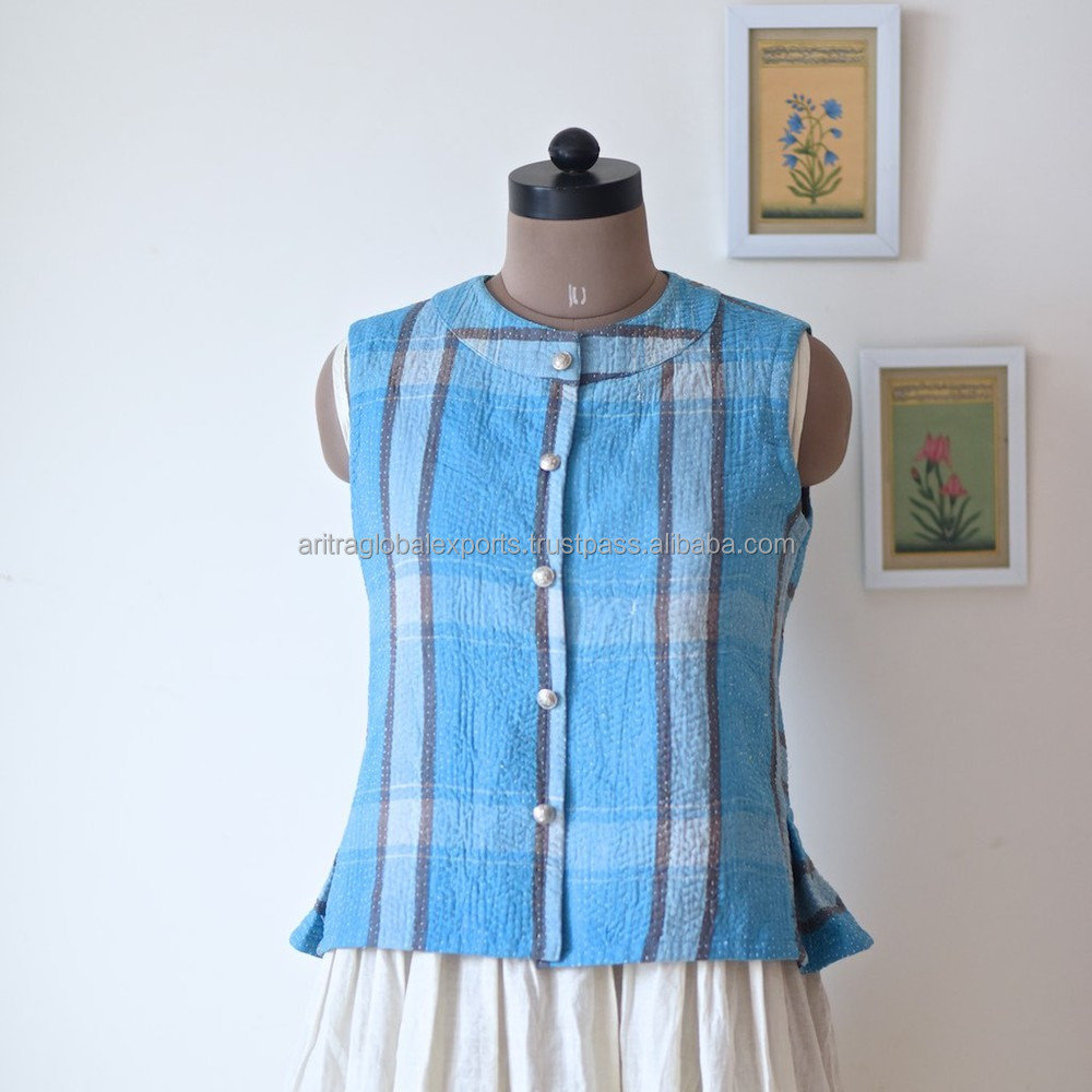 Vintage Kantha Vest in Beautiful Blue Check Vintage Fabric ~ Medium