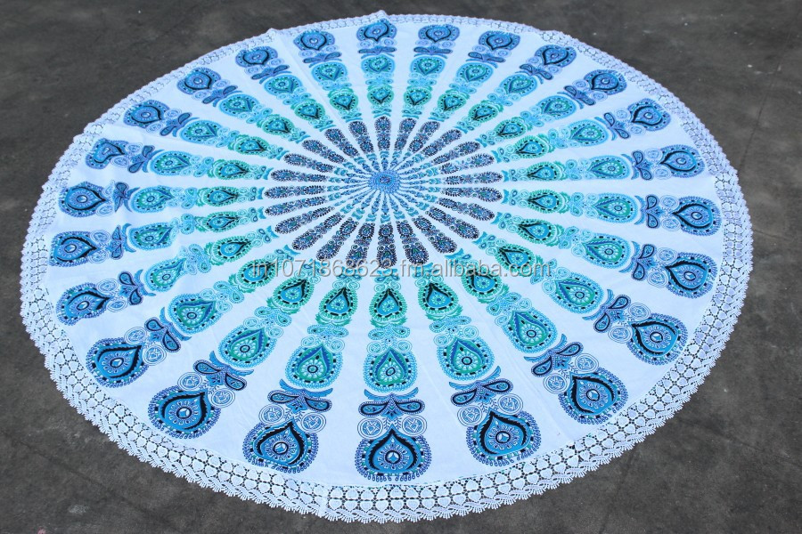 roundie h keln blau t rkis baumwolle bohemian mandala strand werfen hub produkt id 50014825205. Black Bedroom Furniture Sets. Home Design Ideas