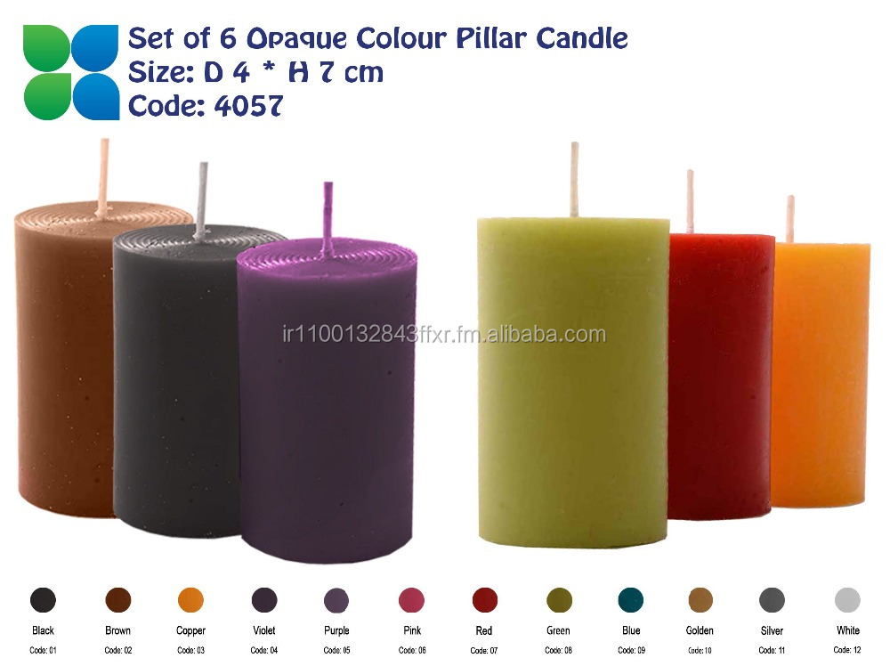 Set Of 6 Opaque Colour Pillar Candles 4 Cm Diagonal 7 Cm Height