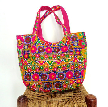 Kutchi Embroidery Work Handbags- Indian Vintage Bohemian HandBags- Handmade  Embroidered Fabric Handbag- Indian f84673208e83b