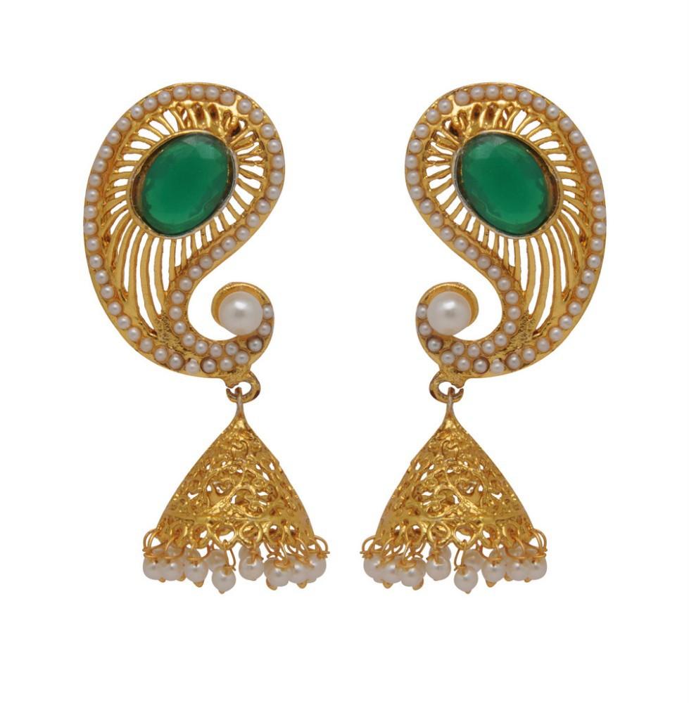 New Traditional Koyari Design Gold Plated Green Stud Jhumka ...