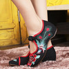 Fashion Chinese Vintage Old Peking Cloth Shoes Women Peony Flower Embroidery Mary Janes Casual Flats sapato feminino