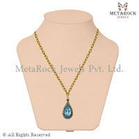 14k Yellow Gold Diamond Pave Blue Topaz Drop Pendant 925 Sterling Silver Jewelry