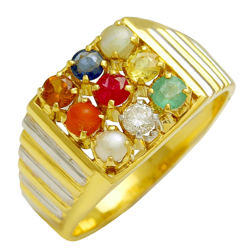 Indian Traditional Nine Piece Color Stone Navratan Gold Ring In ...