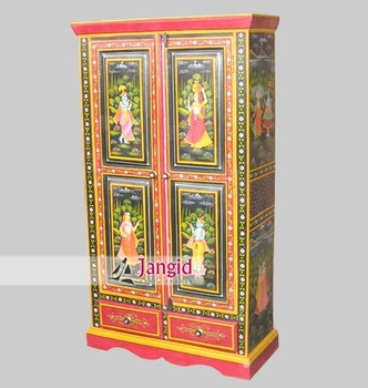Hand Painted Indian Solid Wooden Almirah Childrens Furniture