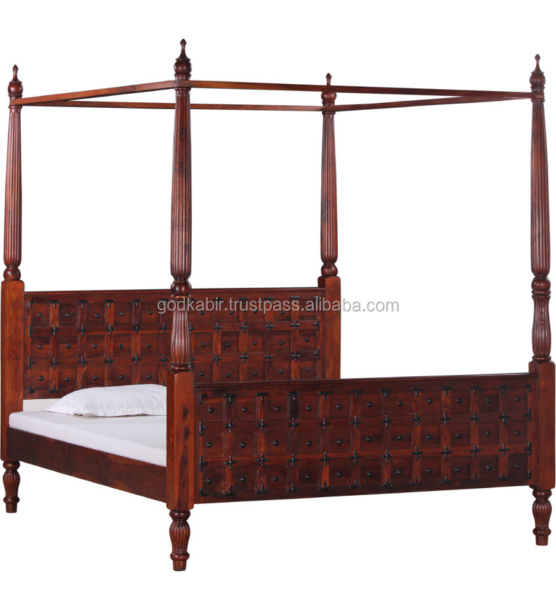 Latest And high sale exporting royal design very famous four poster canopy bed/Alara Poster Bed in Honey Oak Finish.
