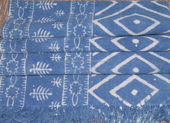 Whole Hand Block Printed Vegetable Dye Rugs Indian Handmade Indigo Blue Dari