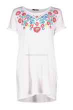 New Fashion High Quality Flower Printed T shirt Dress Design Women Girl Ladies Embroider White Cheap Hot Oem Customised Print