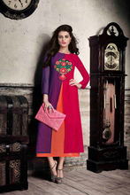 Georgette Kurties Wholesale Quarter Sleeve Knee Length Designer Kurta Formal Wear Indo Western Kurtis Catalog Supplier Online