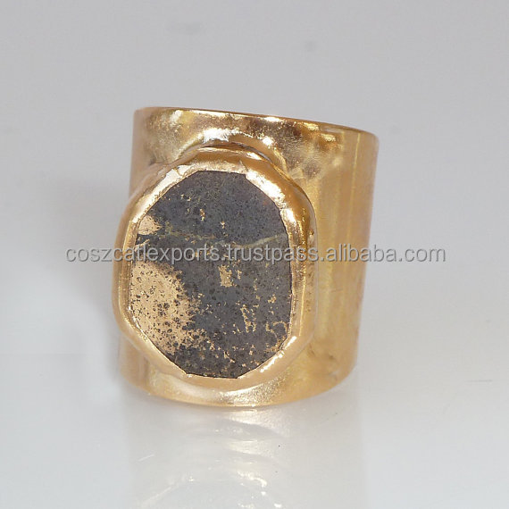 Pyrite Gemstones Geometric Cocktail Gold Adjustable Wide Band Gold fashion Statement ring